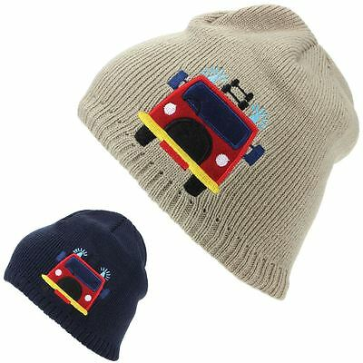Child Beanie Hat Winter Warm Cap Kids Pom Boys Girls FIRE ENGINE Fleece  Lining 55d17535fc76