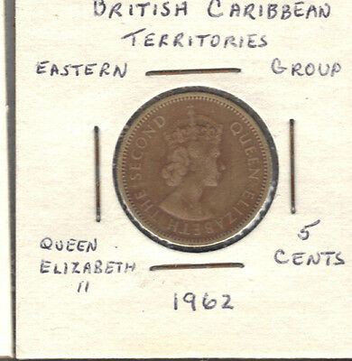 British Carribean 1962 5 Cent Coin