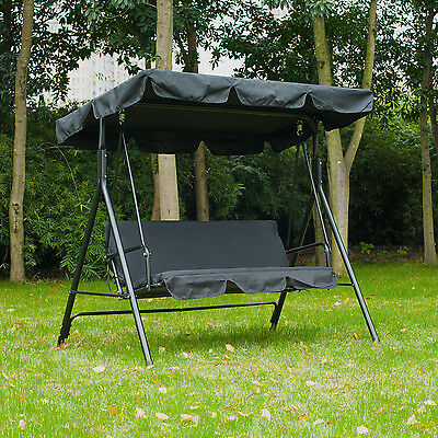 3 Seat Swing Chair Garden Swinging Bench Outdoor Hammock Lounger W/ Canopy