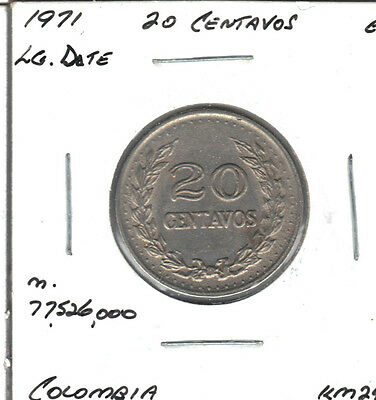 Colombia 1971 Large Date 20 Centavos Coin