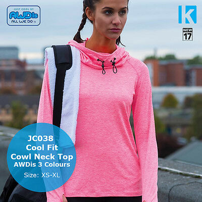 AWDis Cool Cowl Neck Top Long Sleeve Wickable Breathable Running Yoga Gym Sports
