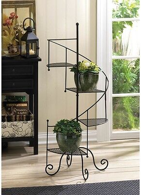 Plant Stand Metal Iron 3 Tier Indoor Outdoor Contemporary Patio Garden Decor