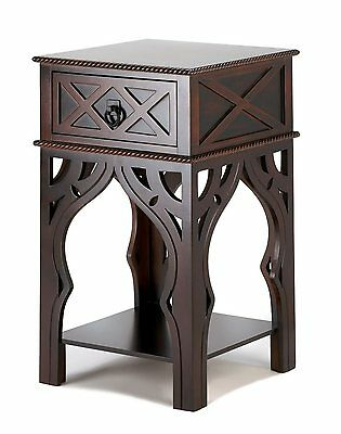 Modern Exotic Nightstand Accent Side End Table Drawer Shelf Intricate Detailing