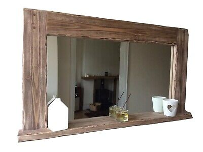 *Beautiful Quality Handmade Rustic Style Mirror With Shelf*