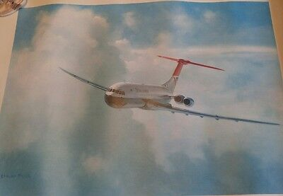 Vickers Super VC10 airplane picture print by Edmund Miller signed print