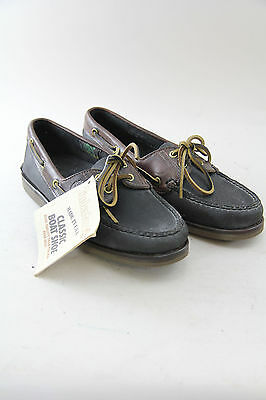 Timberland Vintage Leather Classic Boat Shoes 2 Eyelets 74073 Black/Dk Brown