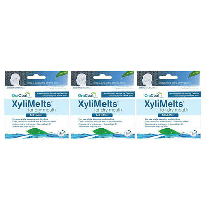 3 Pack OraCoat XyliMelts Mild-Mint for Dry Mouth 40 Discs Each