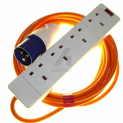 Caravan Camping Hookup 4 Gang Socket Orange 1.5mm High Visibility (5 - 20 Metre)