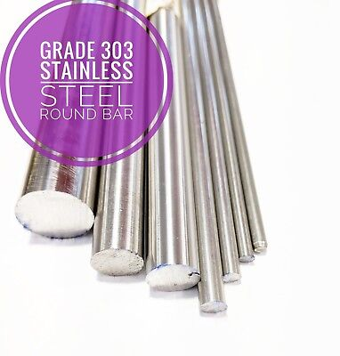 303 Stainless Steel Round Bar Steel Rod 1/8 To 1.5/8 Various Lengths