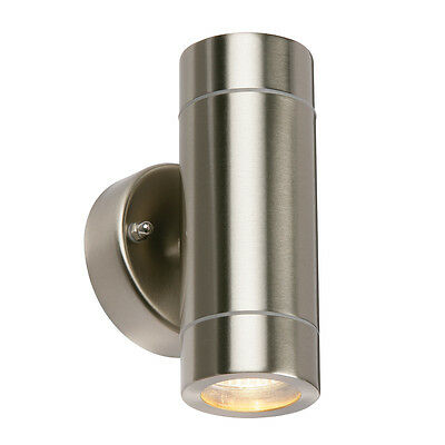 Saxby 13802 - Palin - 35W Twin Stainless Steel Outdoor Garden Up Down Wall Light