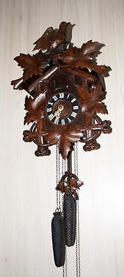 Beautiful Cuckoo clock German Black Forest Hunting style, woodcarved