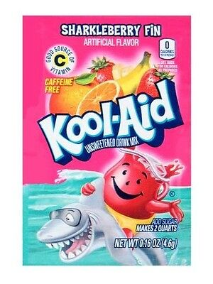 10 Packs Kool-Aid SHARKLEBERRY FIN Unsweetened Drink Mix Packets