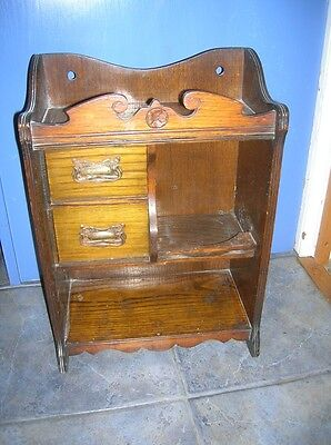 Antique Early C20th OAK SMOKERS CABINET 2 Drawers Jar Holder vgc 18 x 13ins