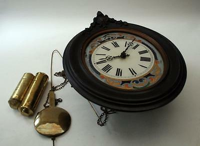 Antique  clock Black Forest  wood plate movement Repair or Parts complete