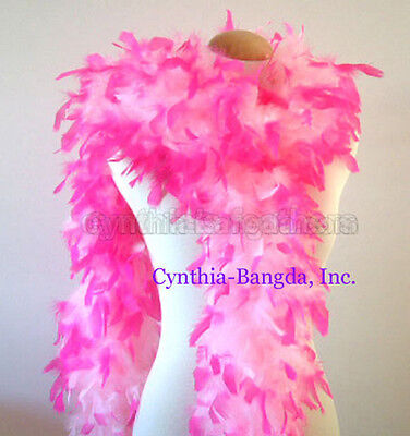65gm chandelle feather boa Baby Pink with Hot Pink Tips