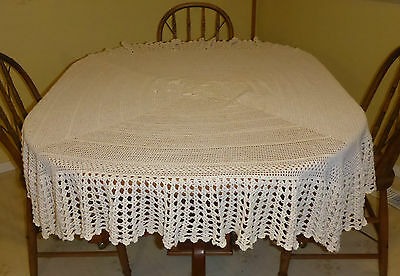 "Beautiful Vintage Off-White Crocheted Tablecloth - 55 1/2"" X 54"""