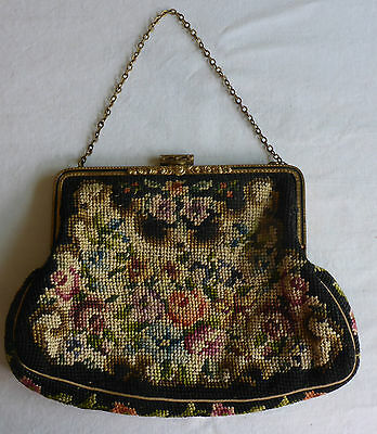 VINTAGE 1950's MICRO PETIT POINT FLORAL EVENING BAG/PURSE MADE IN AUSTRIA