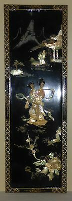 """Vintage Asian Japanese Chinese Shell Art Laquer 3D Wall Panel Picture 36"""" X 12"""""""