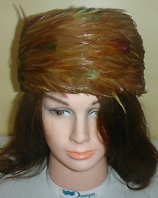 Vintage Mid Century Ladies Pill Box Style Hat - Real Feathers