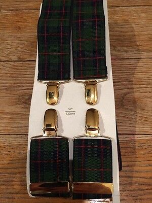 "Vintage CAS Germany Men's Tartan Braces 52"" 132cm"