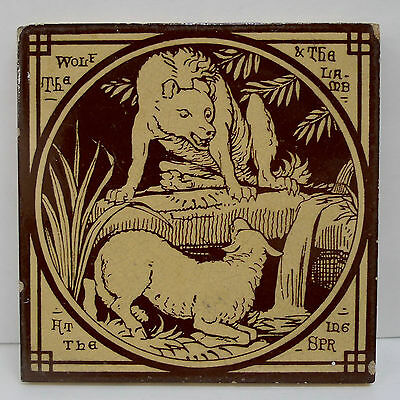 Mintons China Works Aesop's Fables The Wolf & The Lamb Antique Tile