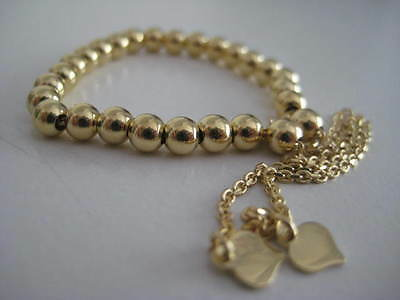 9ct yellow gold 4mm all shiny fancy beaded bracelet with hearts FITS AGES 0-100