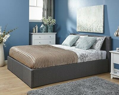 Kingston Grey Fabric Side Lift Ottoman Bed Frame 3FT 4FT6 Double 5FT King Size