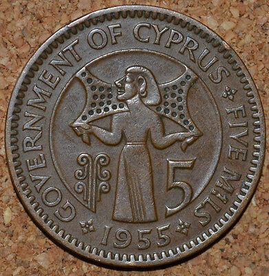 1955 Government Of Cyprus 5 Mils coin