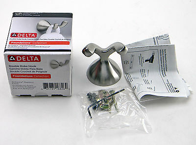 New Delta FND35-SS Foundations Double Robe Hook Stainless Steel