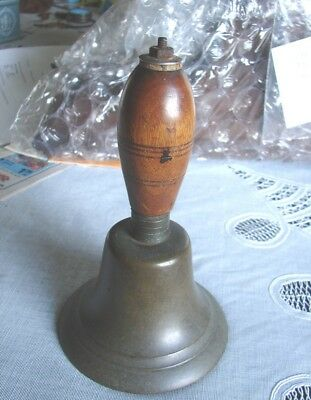 Antique One Room School House Teacher's Hand Bell no.8 Brass Aged Patina