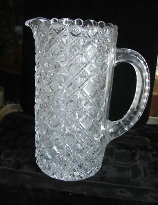 1880's Ornately Faceted Diamond Block EAPG Pattern Glass Beverage Water Pitcher