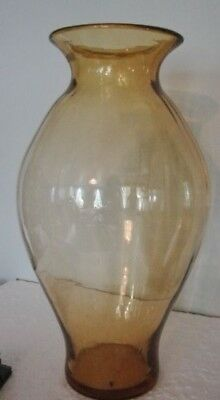 Vintage BLENKO Modern Blown Amber Thin Optic Panel Art Glass VASE 15¼""