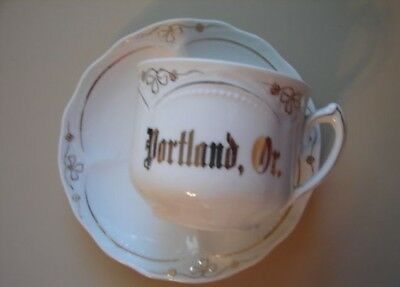 Victorian Souvenir Portland Oregon Cup Saucer Germany Gold Decorated Porcelain