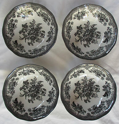 Johnson Brothers Asiatic Pheasant Black Soup/ Cereal Bowls - Set 0F 4