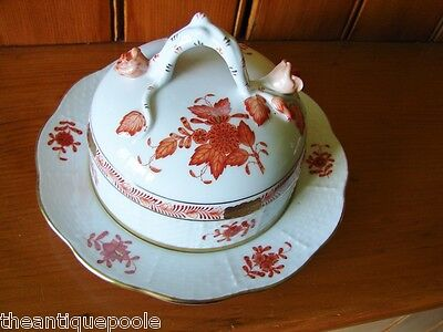 Herend Hungary Hand Painted Gilt Porcelain Chinese Bouquet Covered Butter Dish