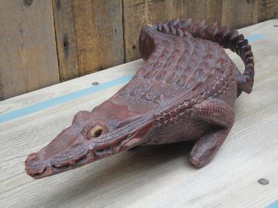 Vintage Carved Wooden Crocodile Collectable B