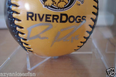 DUSTIN FOWLER 2015 Charleston RIVERDOGS Signed Logo Baseball Autograph YANKEES