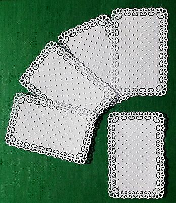 """WHITE EMBOSSED TOPPERS X 5 TINY DOT PATTERN FOR 6"""" x 4"""" CARDS – DAINTY & PRETTY"""