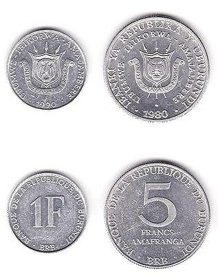 Burundi Uncirculated Coin Pair, 1 And 5 Francs,  Km19-20