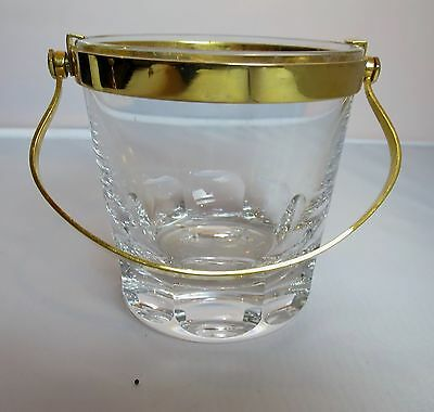"""Baccarat Small Ice Bucket with Gold Rim & Handle 4 3/8"""" Tall"""