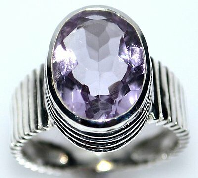 Pink Amethyst Sterling Silver Ring Rose De France 925 Solitaire Rings All Sizes