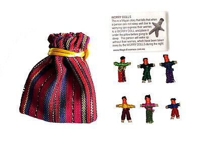 Worry Doll - 6 X MINI WORRY DOLLS in TEXTILE BAG - BLUE
