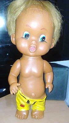 Vintage Rubber Doll Cute Cheeky Boy Nude showing his butt retro 70's 25 cm