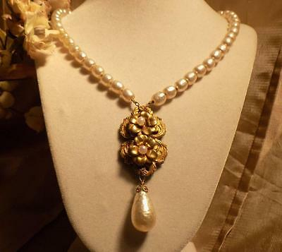 Gorgeous Vintage Signed Miriam Haskell Huge Baroque Pearl Drop Necklace