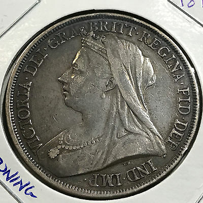 Great Britain 1893 Silver Crown Coin Higher Grade Beautiful Toned Coin