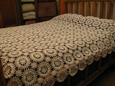 Antique Crochet Star Flower Off White Bedspread Tablecloth Queen Full Twin 76x80