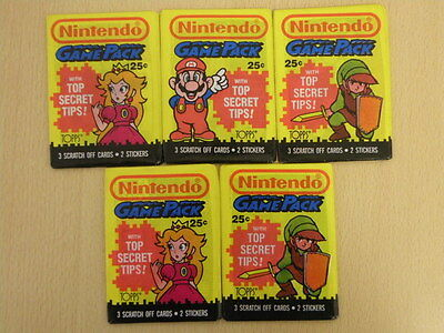 5 x Nintendo Game Pack Stickers/Cards from 1989 NEW Ultra Rare Collectable OR025