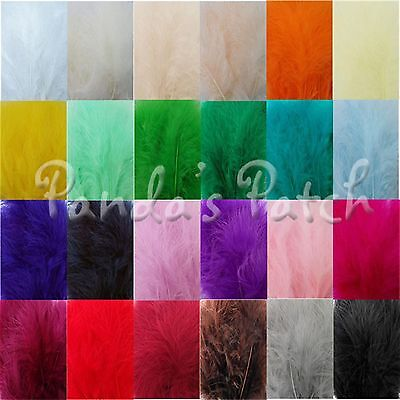 Marabou Feathers Mixed Sizes Fluffy Embellishment Choose Colour and Pack Size