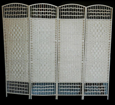 Beige 4 Panel 200cm Decorative Rattan Room Divider Privacy Screen (SCN133)