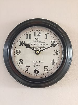 Small Metal Wall Clock Clement Shabby French Vintage Chic Tin Kitchen Hall Gift